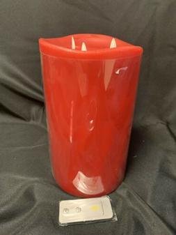 Luminara 10 inch Triple wick Pillar Candle RED w/ remote