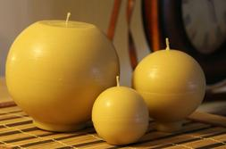 Handmade 100% Pure Beeswax Ball Round Shape Candles 100% Cot