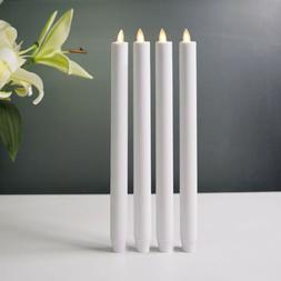"12"" Luminara Flameless Moving Wick LED White Taper Candles W"