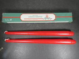 2 Vtg Xmas Candle Lite  Red Taper Candles Good Luck Bayberry
