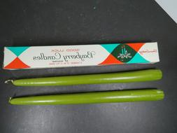 2 Vtg Xmas Taper Candle Lite Olive Green Candles Good Luck B
