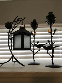 3 Pc Antique Bronze Set- 2 Taper Candle Holders, Tea Light L