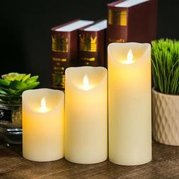 3 PCS FLICKERING CANDLE LIGHTS LED FLAMELESS SMOOTH BATTERY