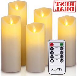 5 luminara flickering moving wick flameless pillar