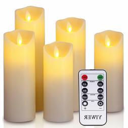 5 Luminara Flickering Moving Wick Flameless Pillar Candle Le