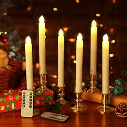 6X LED Wireless Flickering Taper Candles Clips Battery Remot