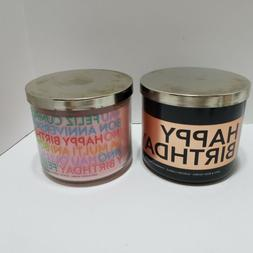 Bath And Body Works Happy Birthday 3 Wick Candles Lot of 2