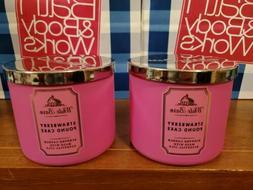 Bath & Body Works STRAWBERRY POUND CAKE 3-Wick Candle X2