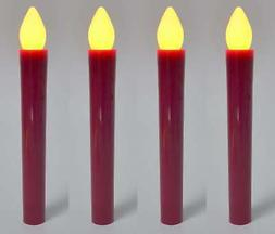 Battery LED Taper Candles, Amber Steady Push Flame Set of 4