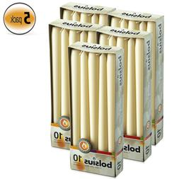 Bulk 50 Ivory Unscented Taper Candles 7.5 Hours Slow Burning