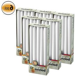 Bulk 60 Unscented White Taper Candles 10 Inch Tall Dripless