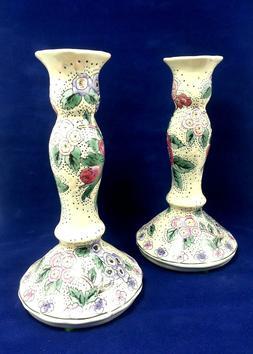 Gloria Vanderbilt For Nora Fenton Ceramic Floral Candlestick