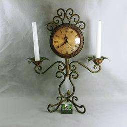 Clock with Taper Candle Holders for Desk or Mantle Scrolled