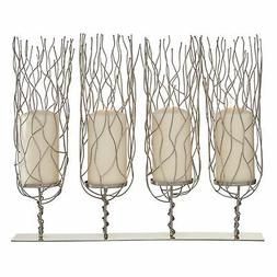 Zimlay Contemporary 4-Pedestal Wavy Stainless Steel Candle H