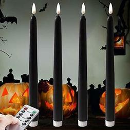 Dark Black Flameless Taper Candles.for Orange Pumpkin Lights