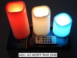 Flameless LED Candles Set 3 PC Luminara Flickering Moving Wi