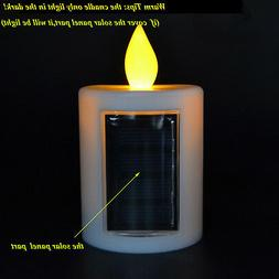Flameless Solar Power Pillar LED Candle Battery Operated for