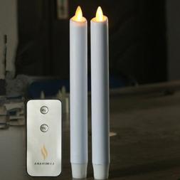 Luminara Flameless Taper Candles White Moving Wick 8'' Set o