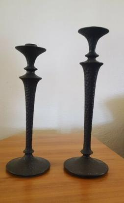 Pottery Barn Hammered Bronze Iron Taper Candlestick Holder S