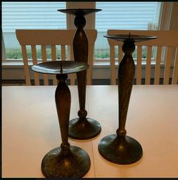 Holders for Pillar or Tapered Candles - Set of 3, bronze