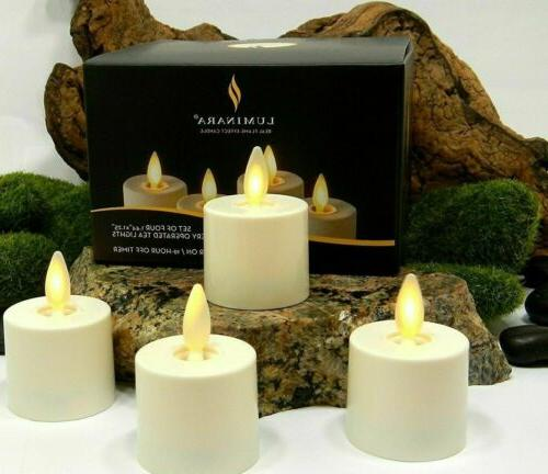 flameless moving wick tea lights candles ivory