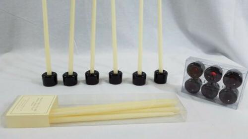 new 6 mini taper glass candle holders