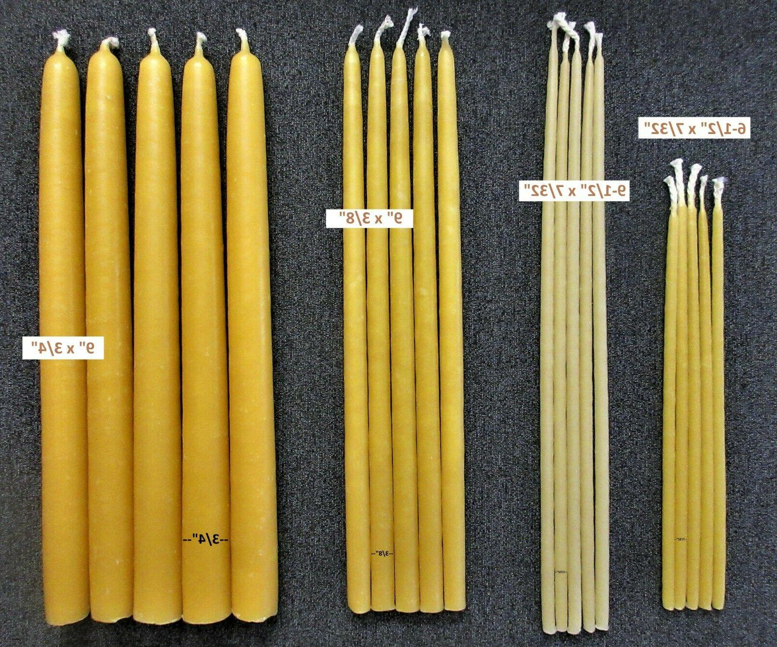 pure yellow beeswax taper candles 100 percent