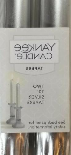 """Yankee Candle Tapers Silver Unscented 10"""" Tapers Set of 2 NE"""