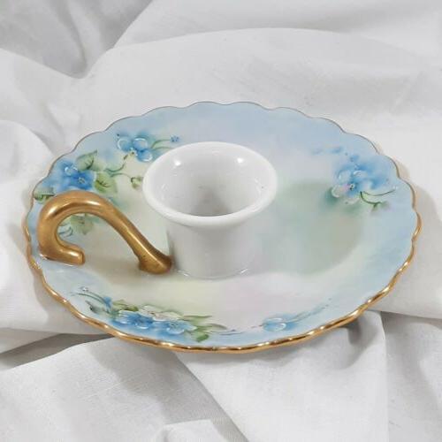 vintage porcelain candleholder handpainted floral blue 1970s