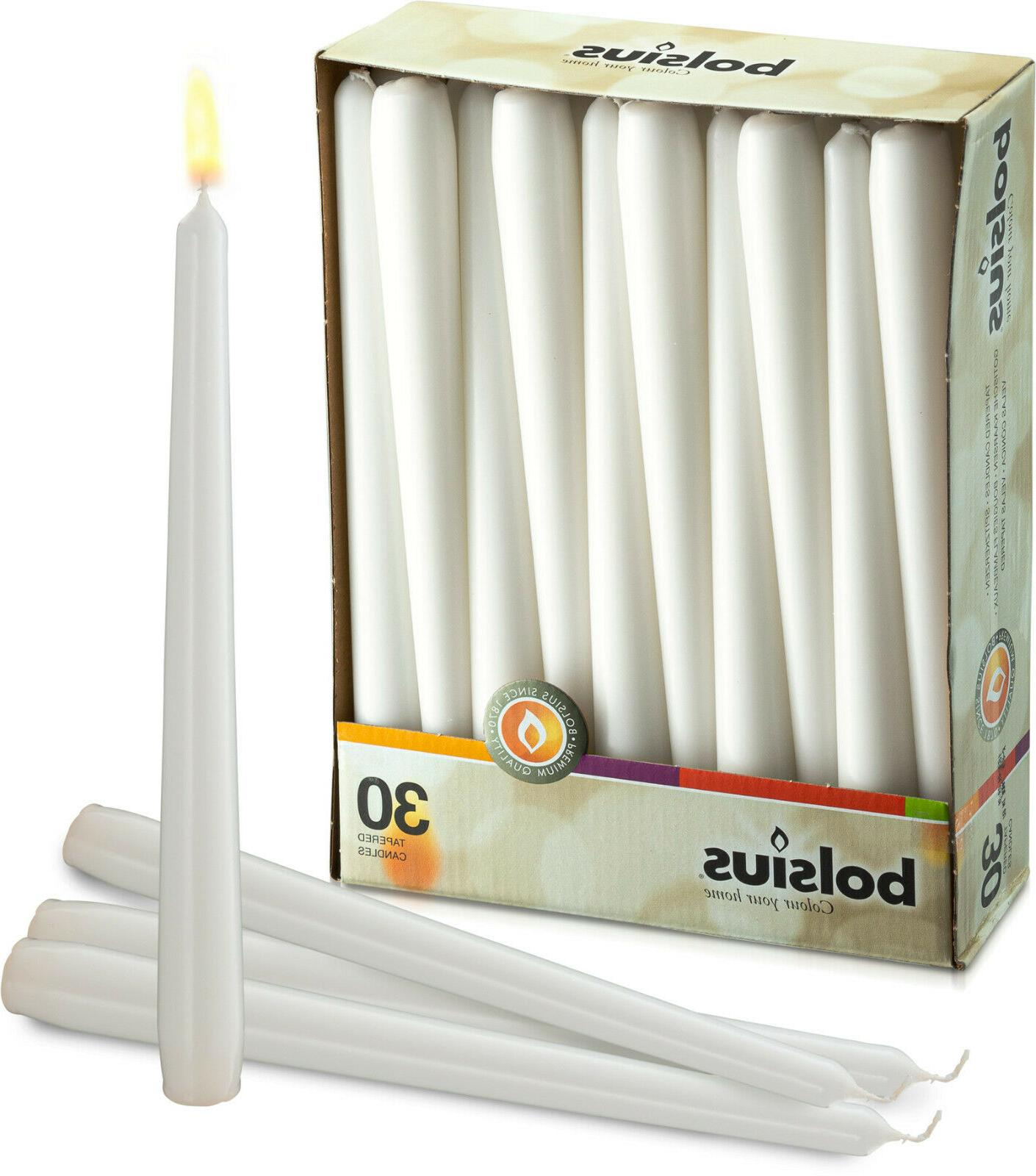 white taper candles 30 in a box