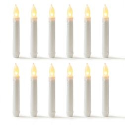 """12pcs 6.25"""" Taper LED Candle Flameless Warm White Body Dippe"""