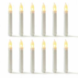 """LED Flameless Flickering Taper Candles-6.25"""" Warm White Batt"""