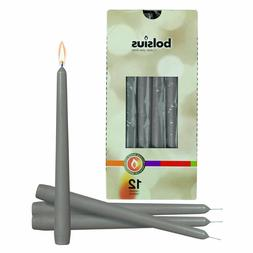 """Light Gray 10"""" Unscented Taper Modern Candles for Emergency"""