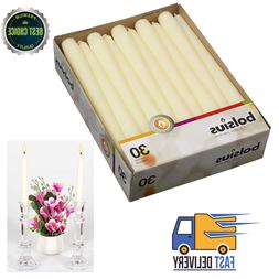 Long Household Ivory Taper Candles 10-Inch 7.5 Hour Burning