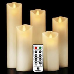 Luminara Moving Wick Flameless Candle Set Of 5 Candle with 1