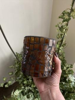 WoodWick MOSAIC FIRESIDE GLASS  - 10 oz candle Wood Wick~CRA