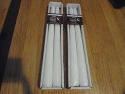 New !  2 x 2 PK Taper Candles 10 in H  White Color Unscented