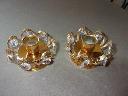 Pair of Yellow Gold Plated Candlestick Holders with Plastic