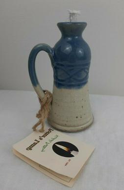 Potter's Oil Lamp Nicholas Pottery Ceramic Blue Speckled Gla