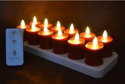 Luminara Rechargeable Moving Wick Flameless Red Tea Lights T