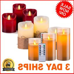 Set 3 Flickering Moving Wick Flameless Pillar Candle Led Rem