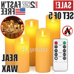Set 5 Luminara Flickering Moving Wick Flameless Pillar Candl