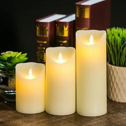 Set LUMINARA FLICKERING MOVING WICK Flameless Pillar Candle