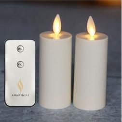 Set of 2 Luminara Flameless Ivory Votive Candles w/remote Mo