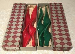 """Set of 4 - 12"""" Spiral Twisted Taper Candles 2 Red, 2 Green"""