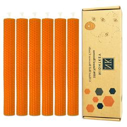 Set of 6 Pure Beeswax Handmade Honey Comb Taper Candles for