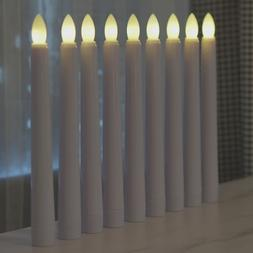 Set of 9 Flameless Taper Window Candles with Remote Timer fo