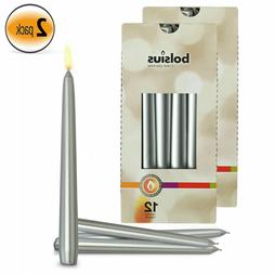 """Silver 10"""" Taper Unscented Decorative Candles for All Occasi"""