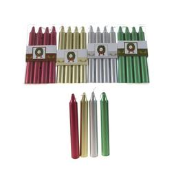 """Mega Candles - Unscented 6"""" Metallic Taper Candle, Set of 16"""