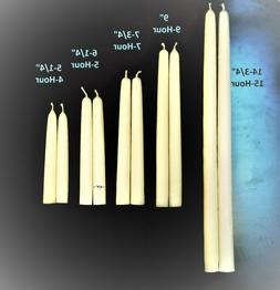 Pure IVORY BEESWAX Taper CANDLES, 100% cotton wicks, drip-le
